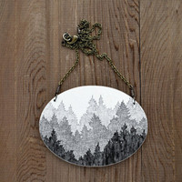 Large Boreal Necklace in Antique Black and Graphite - Hand Painted Tree Artwork Pendant