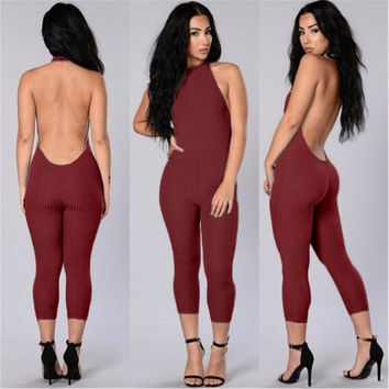 spring autumn bodysuit women club jumpsuit party open back backless sexy bandage bodycon romper playsuit overall clubwear T46