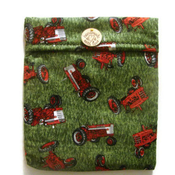 Red and Green Tractors Microwave Potato Bag Large Size (Custom Fabric Orders Available)