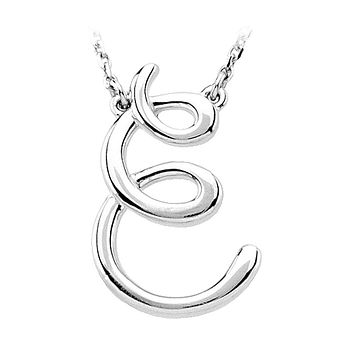 Script initial Necklace in 14k White Gold, Letter E