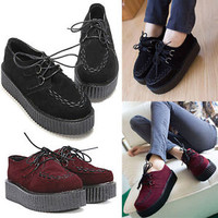 Women Trendy Lace Up High Platform Creepers Punk Checker Flats Ankle Shoes Boots