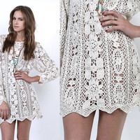 80's Cream CROCHET Cut Out Sheer KNIT Tunic Sweater Mini Dress S/M