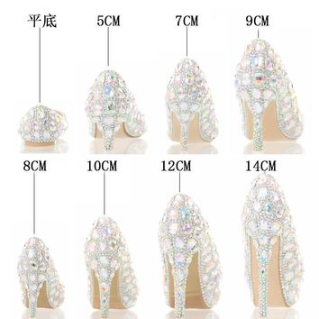 2017 The New Seven Color Glass Slipper High Heels Bride Shoes Lighter Wedding Shoes Show Club for Women's Shoes Crystal Shoes