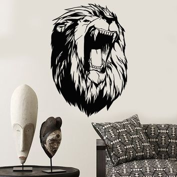 Vinyl Wall Decal Abstract Lion Head African Animal Fangs Stickers (2642ig)