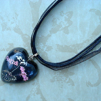 Emily Strange Im a Little Weird Resin Black Necklace OOAK