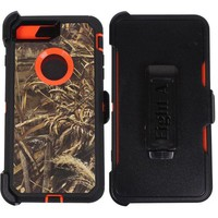 LMFGQ6 Apple iPhone 8 Plus Case,Heavy Duty Defender Impact Rugged with Built-in Screen Protector Camouflage Protective Case Cover for iPhone 8 Plus (Orange-Grass-Camo)