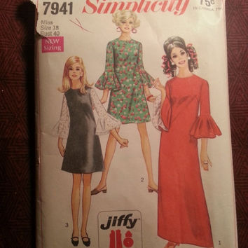 Complete 1960's Simplicity Sewing Pattern, 7941! Size 18 Bust 40 women's/Misses/Long Sleeves with Flounce/Short or long Dresses/Round Neck