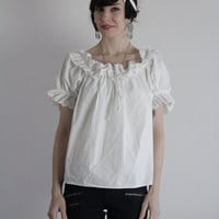 RESERVED Vintage Blouse . White Eyelet Lace . Ruffle Drawstring . 1960s Spanish Style Top . Off The Shoulder