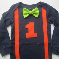 Boy orange suspender outfit, Boy first birthday outfit, Boy lime green bow tie shirt, Boy orange suspender, Boy navy blue birthday shirt.