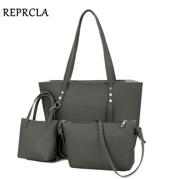 REPRCLA Litchi Pattern Three Pieces Women Bag Soft PU Leather Handbags Female Shoulder Bags Fashion Girls Small Crossbody Bags