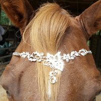 Rhinestone Butterfly Browband for Horse or Pony - Silver Finish - Equine Bling Tack Jewelry - Butterfly Browband