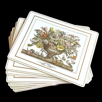 Vintage Pimpernel Placemats Floral Bouquet Set of 8 Rectangular Acrylic with Cork Backing Beige Border Table Mat Made in England