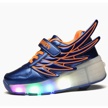 New Heelys Sneakers With Wheels Roller Skate Children Casual Boys Girls Yeezy Shoes Kids Led Light Up Wheelie Shoes With Wings