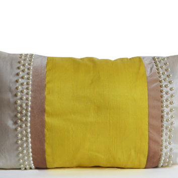Designer Pillow Cover Faux Silk Velvet Pearl Pillowcase Premium Lumbar Pillow Yellow Ivory Beige Cushion Square Pillow Gift Christmas Gifts