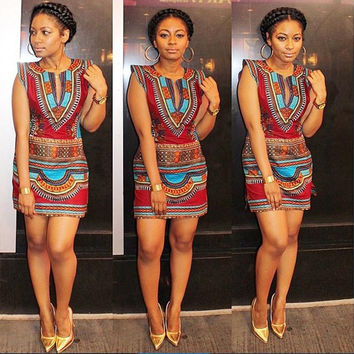 2016 New Women Summer Dashiki Dress Sexy Sleeveless Traditional African Print Party Dresses Ladies V-Neck Sheath Dress 10680