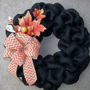 "18 "" Black Burlap Halloween Wreath,Fall wreath, Burlap fall, decoration, Burlap Door Wreath"