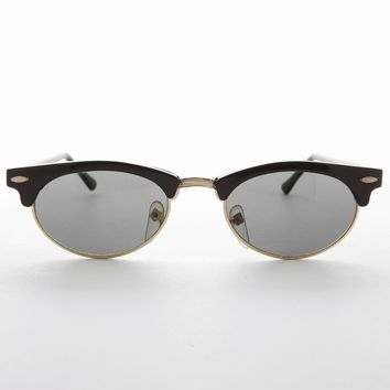 Womens Oval Horn Rim Vintage Sunglass with Glass Lens - Shelby