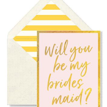 Will You Be My Bridesmaid? Greeting Card, Single Folded Card or Boxed Set of 8