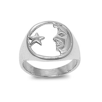 925 Sterling Silver Wicca Moon and Star Ring