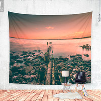 Guidance Wall tapestry - Beautiful wanderlust wall decor photograph with a adventure and explore feel, with our sea and ocean with sunset.