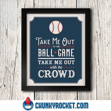 "Take Me Out to the Ball Game 11"" x14"" Set - Kids Decor - Nursery Print - Baby Boy - Modern Decor - Boy's Room - 11"" x 14"" Print - Wall Art"