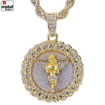 """Jewelry Kay style Hip Hop Gold Plated Iced Out Pray Angel Medallion Pendant 24"""" Chain HC 121 G"""