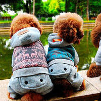 Free shipping!Cute Deer Snow Design Pet Clothing,Coral Fleece Double Cotton-Padded Clothes Pet Clothes Teddy Dog Clothes