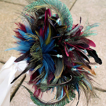 Bridal bouquet Peacock Blast - feather wedding bouquet for Bride or Bridesmaid . With crackled glass beads and Swarovski crystals