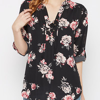 Rosy Lace-Up Chiffon Popover Blouse