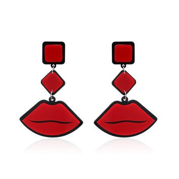 Women's Cute Funny Earrings Red Lip Ear Drop