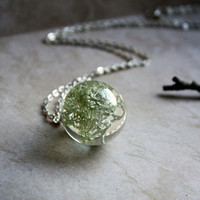 Real Moss Necklace. Unique Resin Sphere Orb Globe Pendant. Lichen. Nature. Forest.
