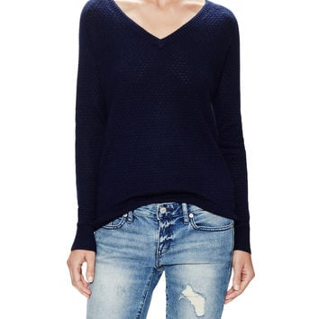 Three Dots Women's Silk Cashmere Raglan Sweater - Dark Blue/Navy -