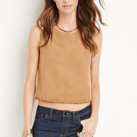Whipstitched Faux Suede Top