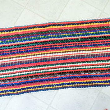 Vintage Color Scatter Rug Area Rug Kitchen Rug Floor Mat Loom Woven 24 x 45 Braided Rug Retro Rug Vintage Rug