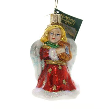 Old World Christmas ANGEL WITH LYRE Glass Ornament Purity Peace 10157 Red