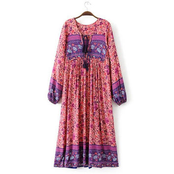 Women Floral Printed Boho Summer Long Beach Dress Lace Up V Neck Lantern Sleeve Casual Loose Dress Plus Size Sundress YPWM8100