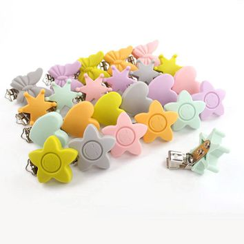 6PCS Silicone Chewable Baby Pacifier Clips Star Heart Baby Pacifier Clip Metal Clips Soother Clips For Baby Teeth Gifts