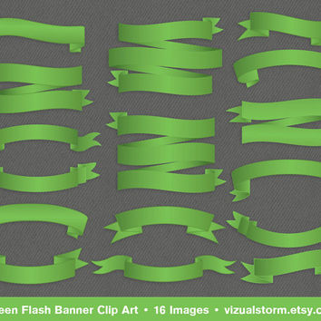 Banner Clip Art, Green Flash, 16 professionally designed banners for weddings and craft projects, includes collage sheet, Buy 2 Get 1 Free