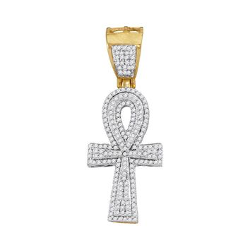 10kt Yellow Gold Mens Round Diamond Ankh Cross Religious Charm Pendant 1/2 Cttw
