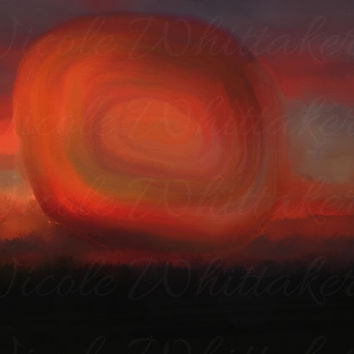 Sunset Night Abstract Digital Painting signed art print A2 59 x 42 cm landscape nature