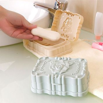 New Travel Bathroom Soap Dishes Case Holders Clear Box waterproof soap box Racks With Cover