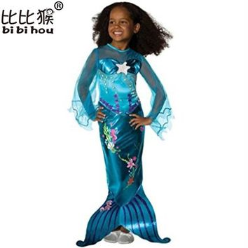 2018 New Girls Mermaid Dresses with Pearl Children Halloween Little Mermaid Ariel Cosplay Costumes for Kids Carnival Party Dress