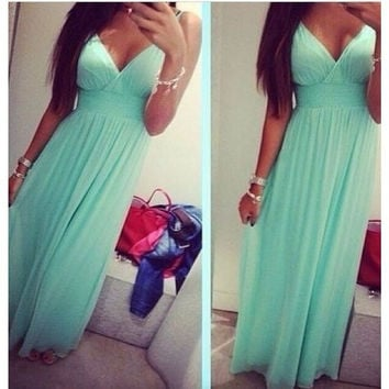 Summer 2016 Maxi Dress Women Floor-length Sleeveless Sexy Deep V neck Long Dress High Waist Empire Party Dresses vestidos D6302