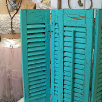 Wooden shutters set of 4 panels Caribbean turquoise cottage distressed wall table home decor anita spero