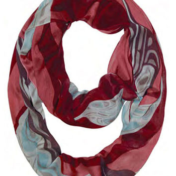 Raven Feathers Infinity Bamboo Scarf designed by Trevor Angus, Gitxsan