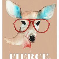 8x10 Fierce Deer Hipster Print