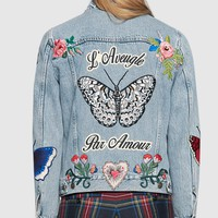 Gucci Women Brief Paragraph Denim jacket Embroidery Long Sleeve Coat Top