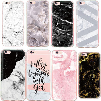 Fashion New Marble Stone Image Portuguese Words Phone Cases For iPhone 7 Plus 6 6s Plus 5 5s Case Soft Silicone TPU Capa Fundas