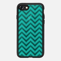 Glitter Teal Chevron Transparent iPhone 7 Case by Alice Gosling | Casetify