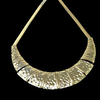 Hammered Wide Collar Necklace Bib Articulated Panels Gold Tone with Snake Chain